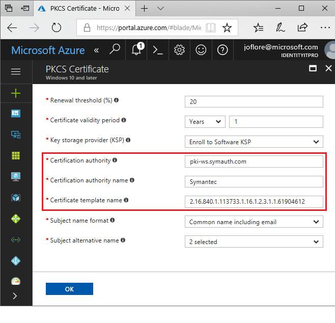 Emitir certificados Symantec PKCS com o Microsoft Intune | Microsoft