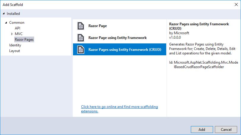 Как добавить CRUD действия в Razor Pages.