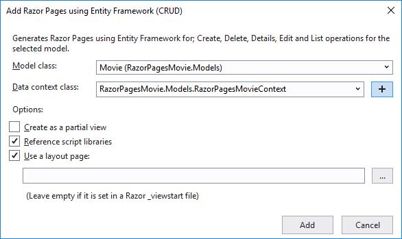 "Модальное окно ""Add razor pages using entity framework (CRUD)"""