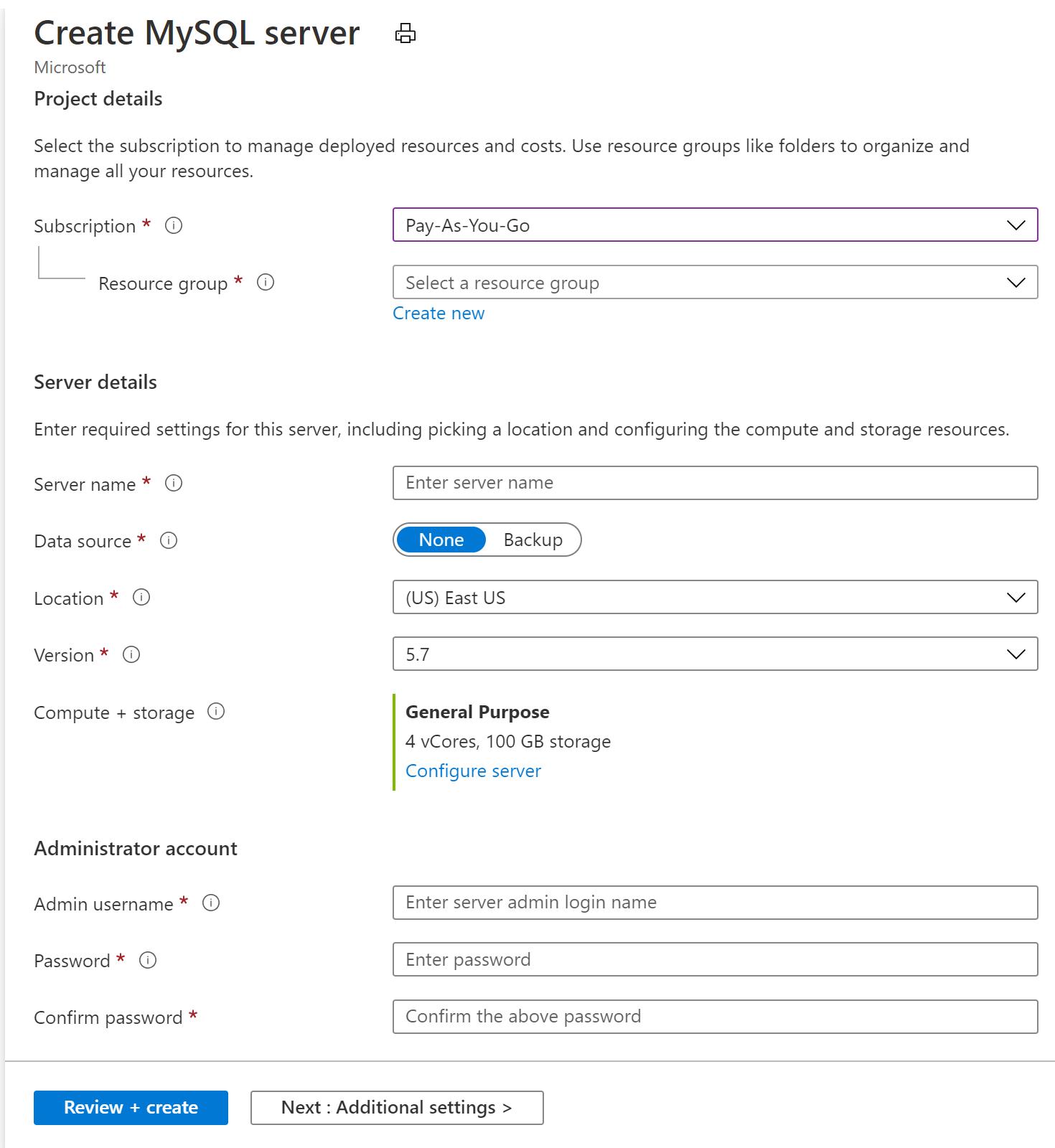 Снимок экрана: страница создания сервера MySQL.