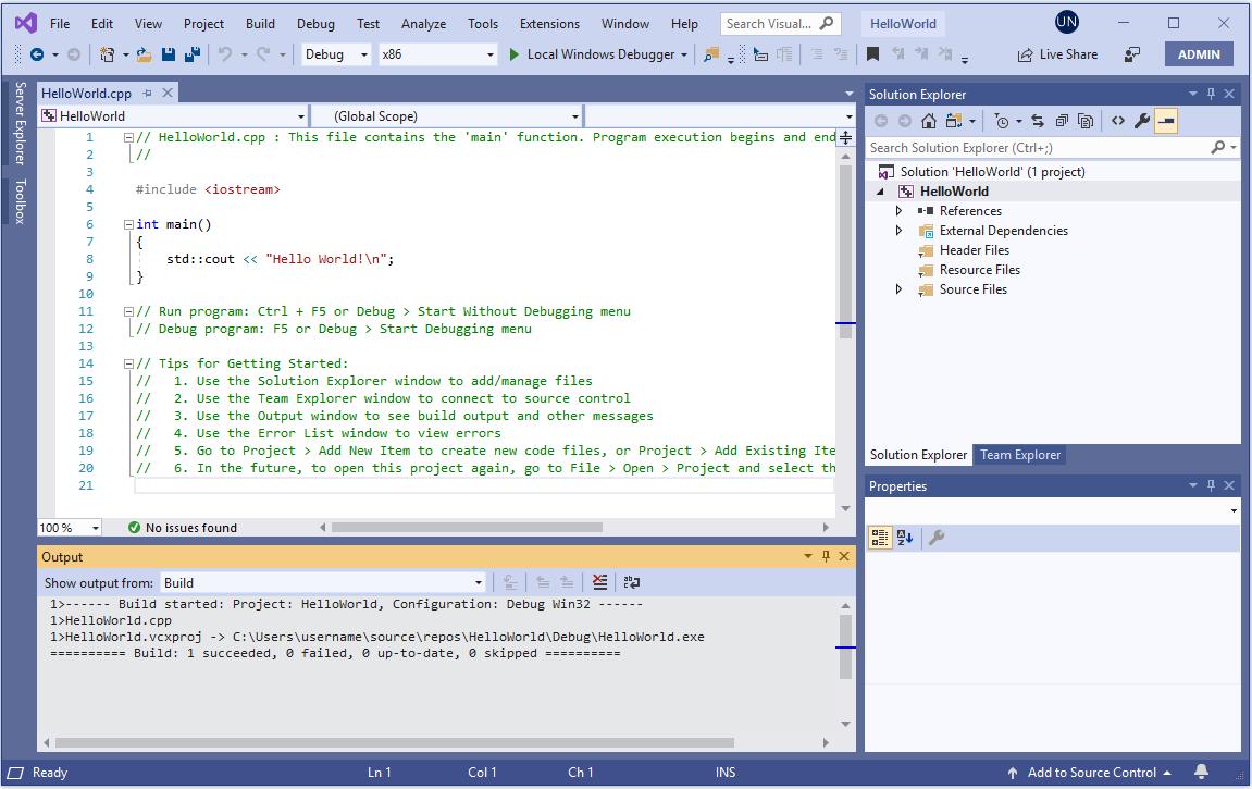 Проект Hello World в интегрированной среде разработки