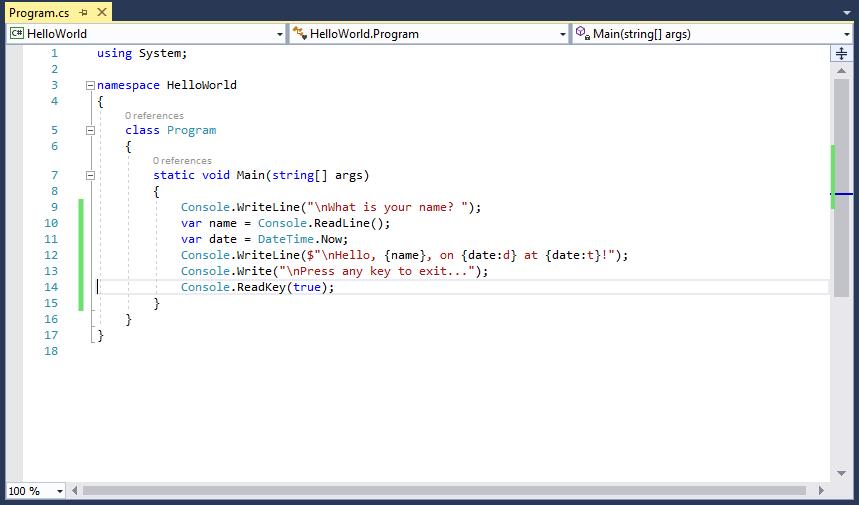 Файл C# Visual Studio с обновленным методом Main