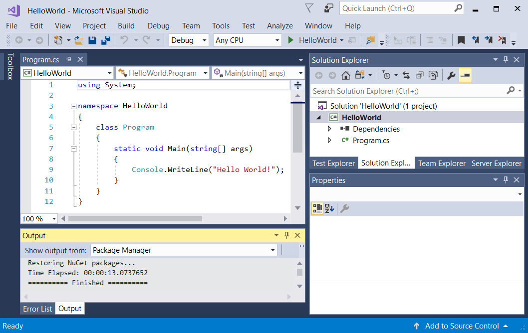 Visual Studio и новый проект Hello World