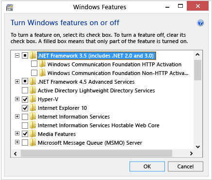 Установка .NET с помощью панели управления