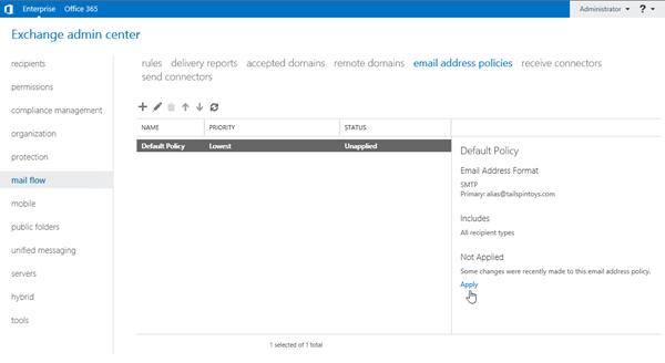 процедуры для политик адресов электронной почты в Exchange