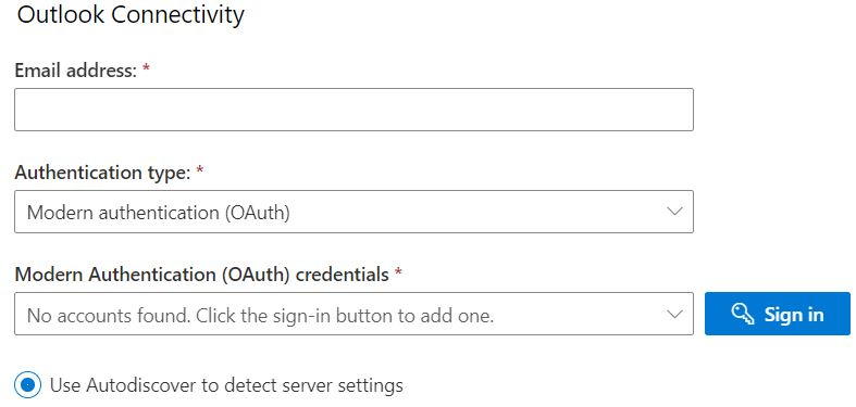 Снимок экрана: ввод тестовых учетных данных