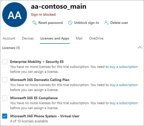 Снимок экрана: пользовательский интерфейс назначения лицензий в центре Microsoft 365 администрирования