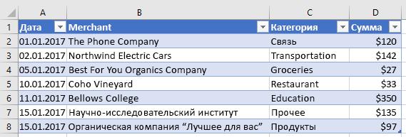 Новая таблица Excel.