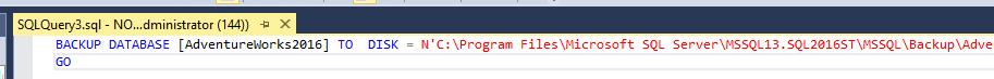 Создание скрипта резервного копирования базы данных — просмотр кода T-SQL