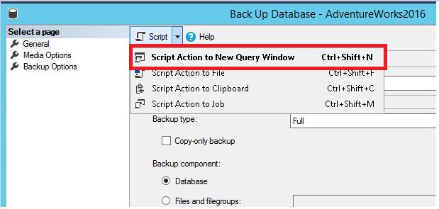 Создание скрипта резервного копирования базы данных — добавление скрипта
