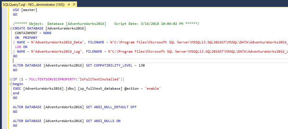 Созданный скрипт для базы данных