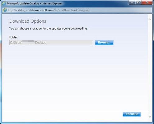 Каталог обновлений Майкрософт — параметры загрузки