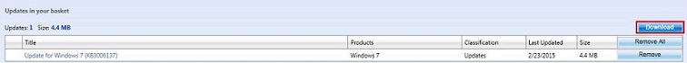 Каталог обновлений Майкрософт — корзина
