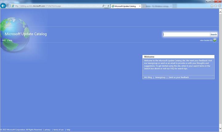 Каталог обновлений Майкрософт в Internet Explorer