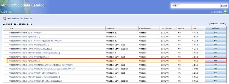 Результаты поиска в каталоге обновления Майкрософт