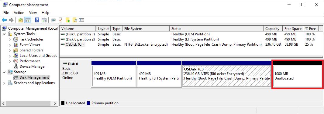 Компонент управления дисками, где отображается свободное пространство, доступное для расширения тома.