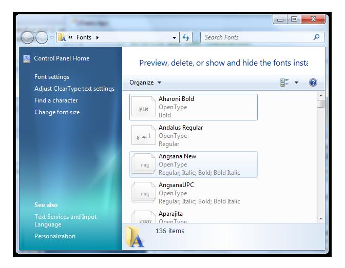 снимок экрана, показывающий панель управления шрифтами в Windows 7