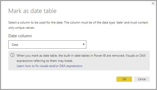 Ak ste pripojení k dynamickému zdroju údajov SSAS a nevidíte v zozname Označiť ako tabuľku dátumov na použitie s časovou inteligenciou.