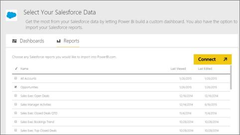 Pomocou tohto pripojenia môžete načítať údaje zo služby Salesforce.