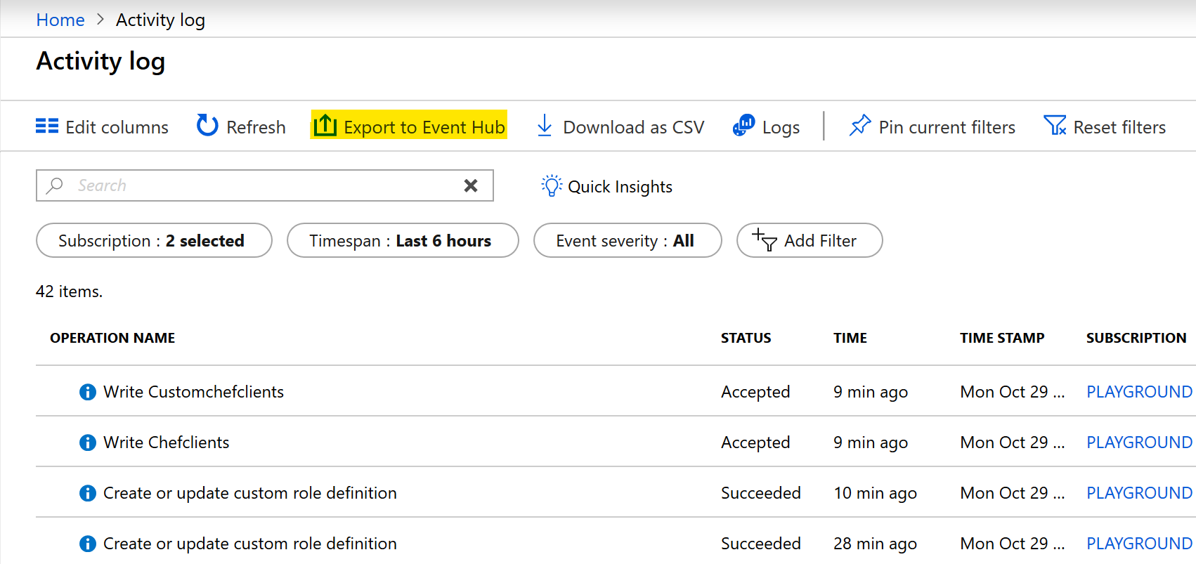Stream the Azure Activity Log to Event Hubs | Microsoft Docs