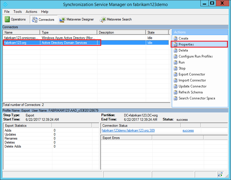 Synchronization Service Manager showing how to edit properties
