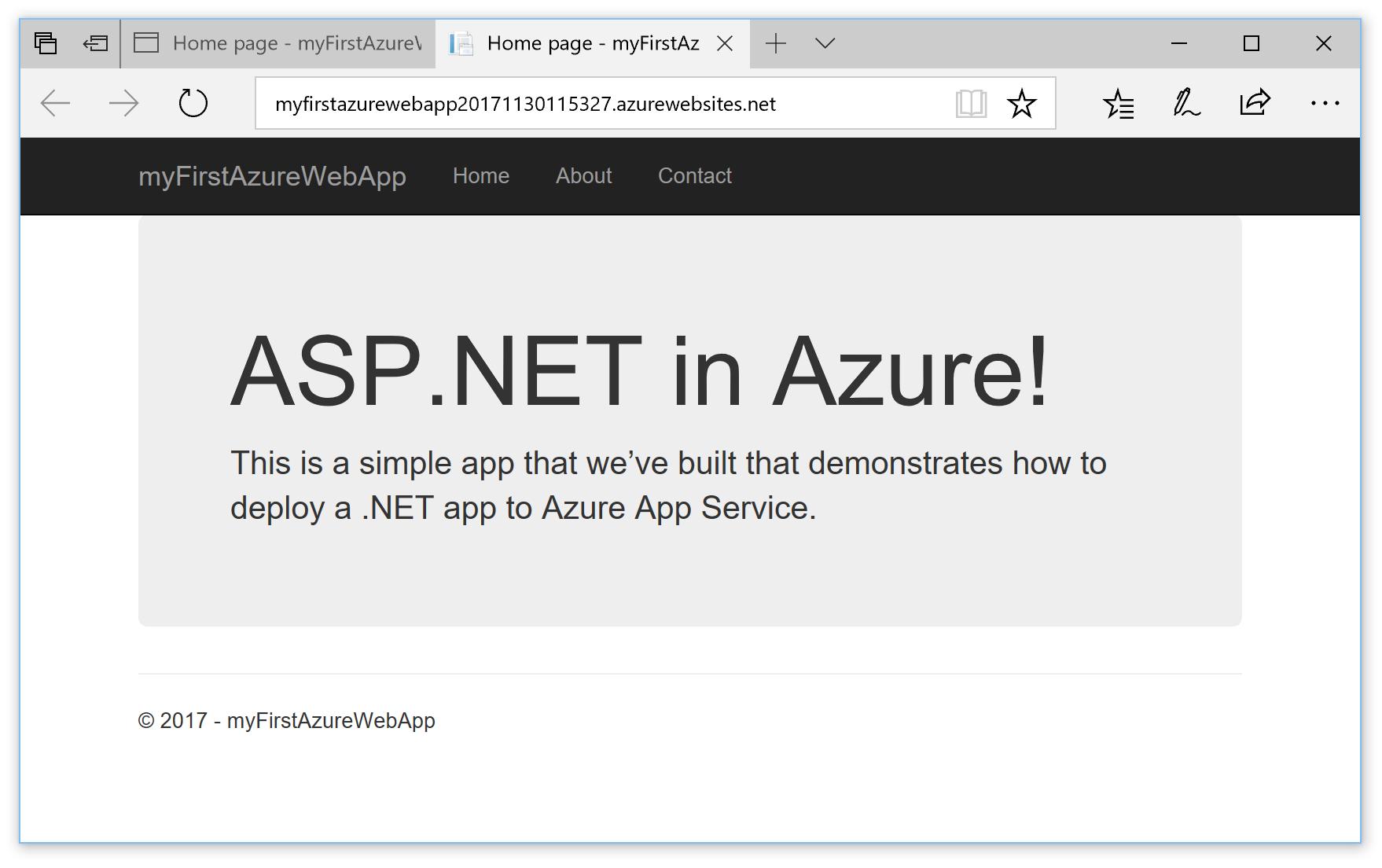 Azure'da güncelleştirilmiş ASP.NET web uygulaması