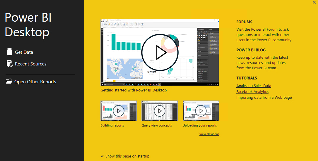 Power Bi Desktop Welcome Screen Power Bi Connector