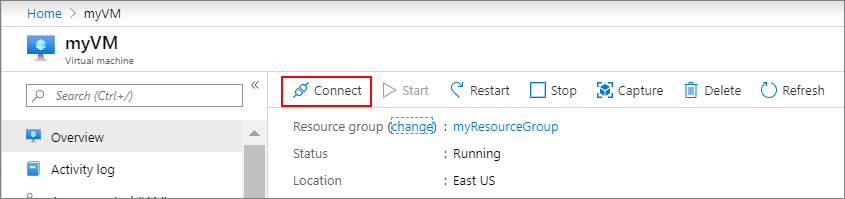 Portaldan bir Azure sanal makinesine bağlanma