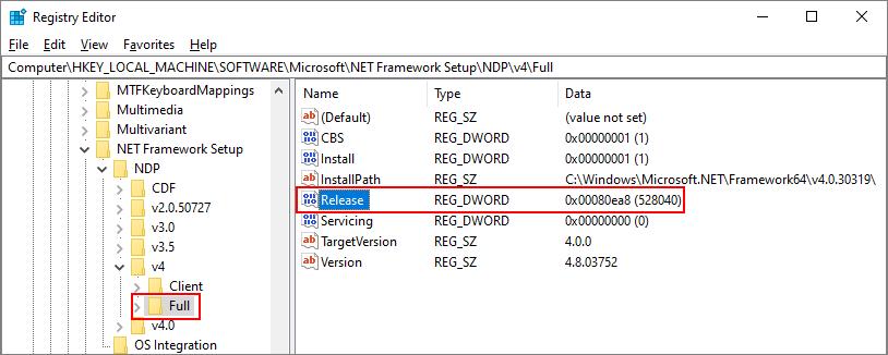 .NET Framework 4,5 için kayıt defteri girişi