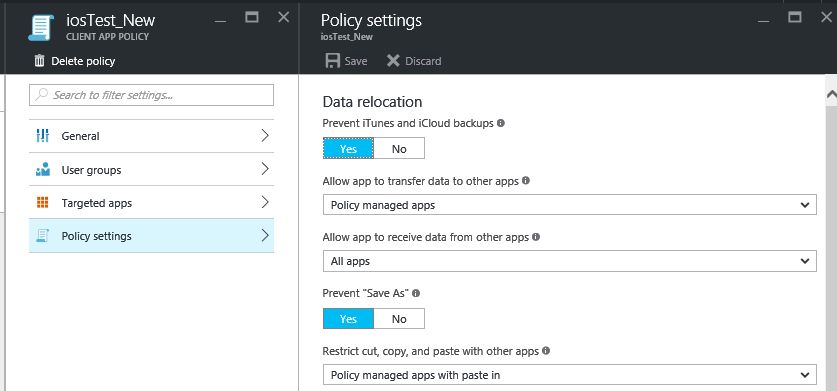 Selectively wipe data using app protection policy access