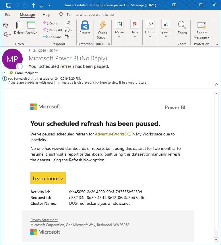 Duraklatılan yenileme için e-posta