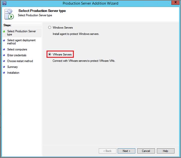 VMware sunucusu seçin