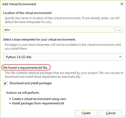 step01-add-virtual-environment-found-req...ew=vs-2017