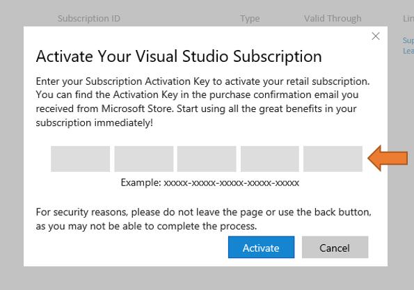 visual studio product key vs subscription