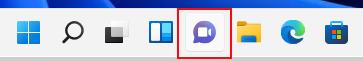 Windows 11 görev çubuğunda, Microsoft Teams araması başlatmak için kamera sohbeti simgesini seçin.