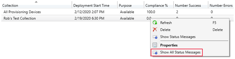 Context menu on a task sequence deployment with extension to Show all status messages