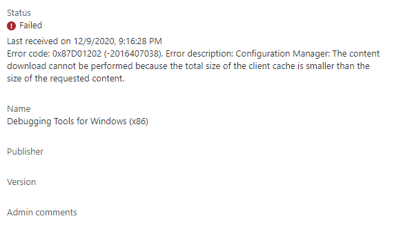 Application installation error in the Microsoft Endpoint Manager admin center