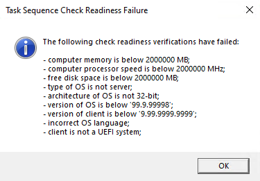 Task sequence check readiness failure