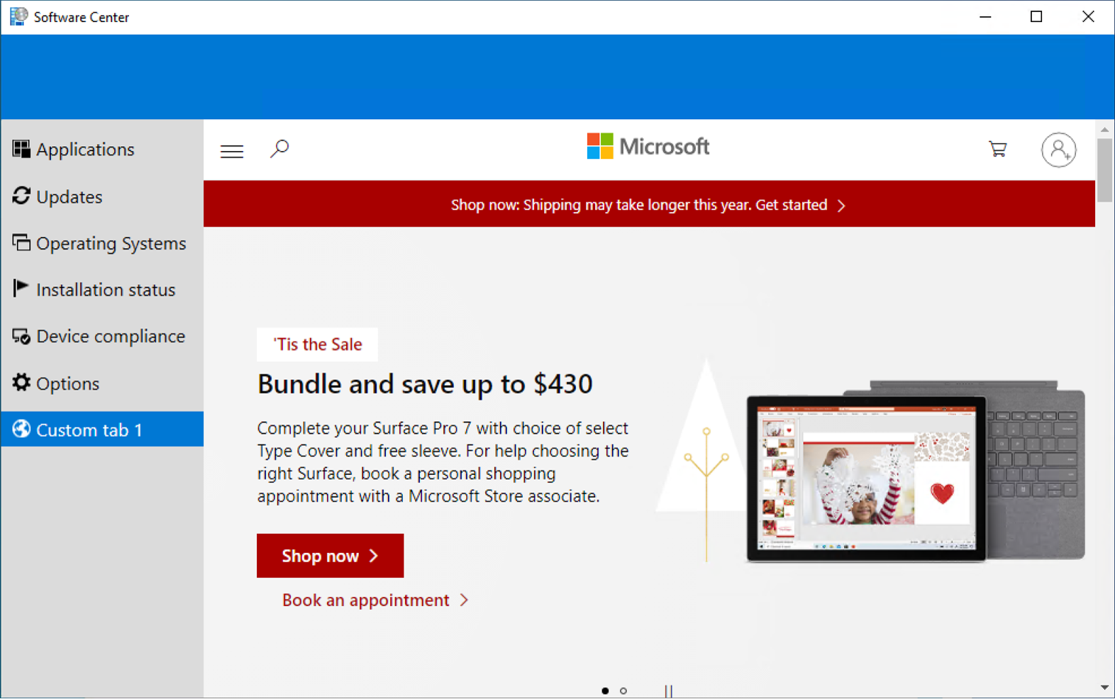 Software Center with a custom tab of the Microsoft website