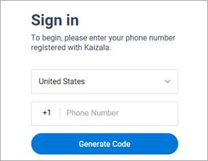 Đăng nhập vào Kaizala bằng điện thoại và chọn tạo mã.