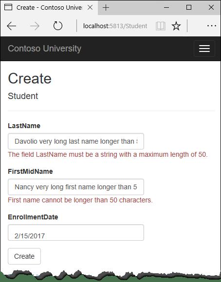 """显示字符串长度错误的""""学生索引""""页"""
