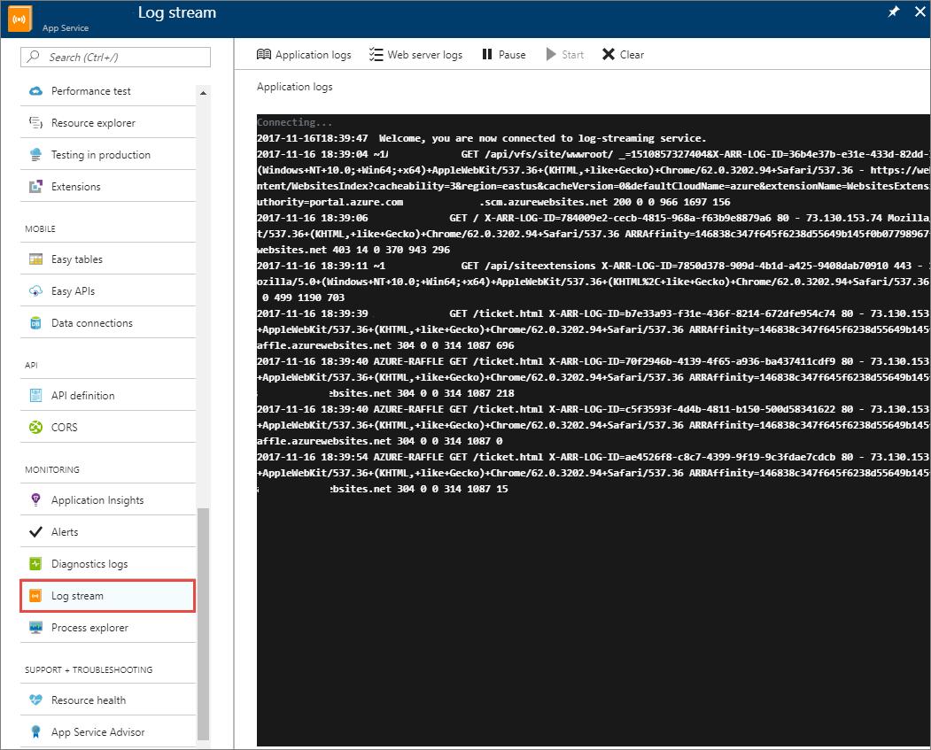 Azure 门户应用程序日志流式处理