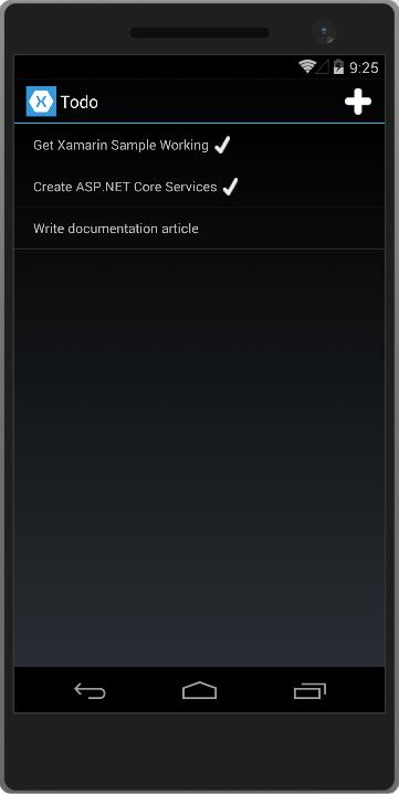 在 Android 智能手机上运行的 ToDoRest 应用程序