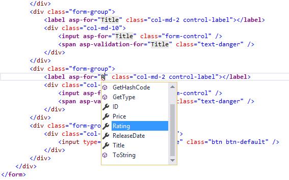 开发人员已在视图的第二个标签元素中键入字母 R 用作 asp-for 的特性值。