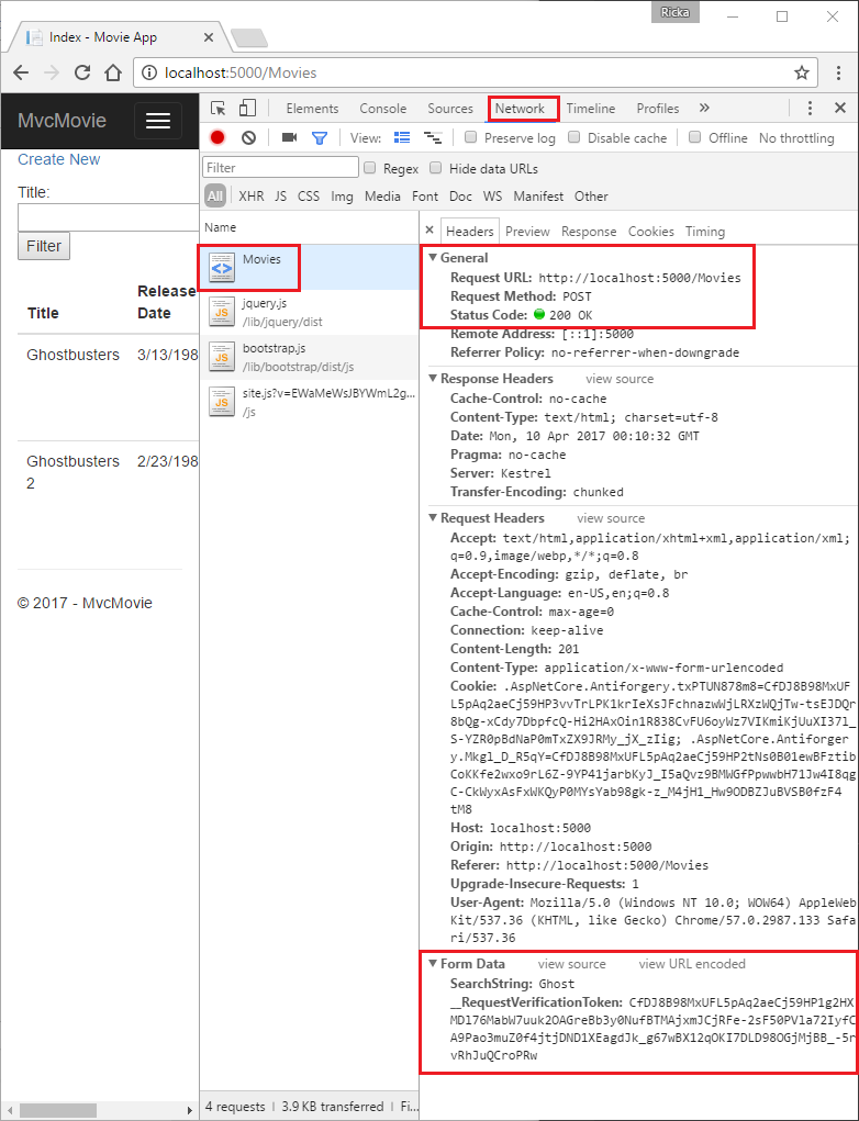 "Microsoft Edge 中开发人员工具的""网络""选项卡,显示了 ghost 的 searchString 值的请求正文"