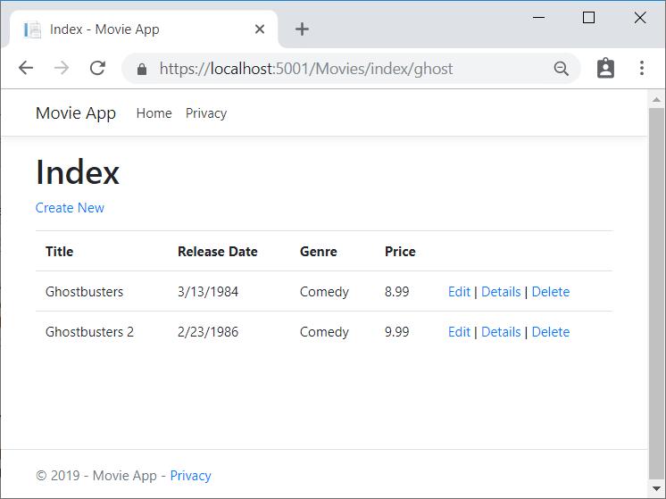 """索引视图,显示添加到 URL 的""""ghost""""一词以及返回的两部电影(Ghostbusters 和 Ghostbusters 2)的电影列表"""