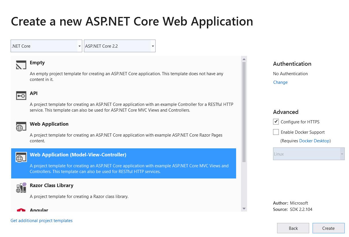 """""""新建项目""""对话框,左窗格中的"""".NET Core"""",ASP.NET Core WebNew project dialog, .NET Core in left pane, ASP.NET Core web"""