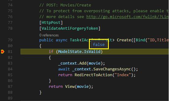 在对无效数据进行调试时,ModelState.IsValid 上的 Intellisense 显示值为 false。