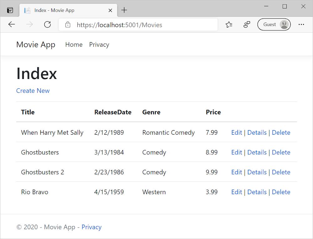 在 Microsoft Edge 中打开的显示电影数据的 MVC 电影应用程序
