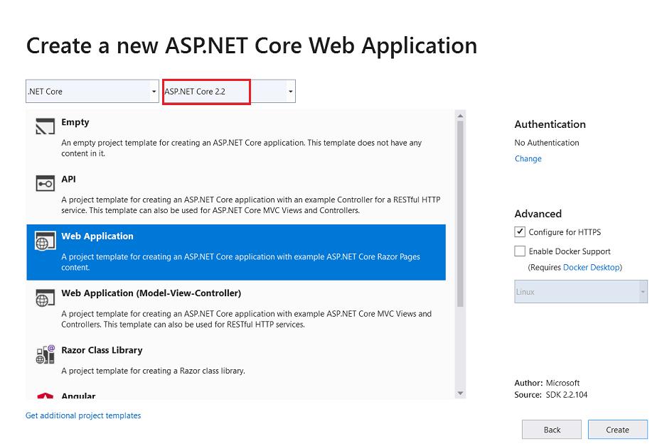 新建 ASP.NET Core Web 应用程序
